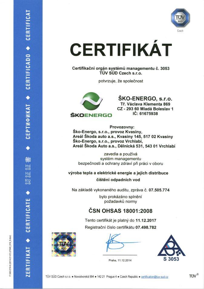 Certifikát ISO 18001 - 2008