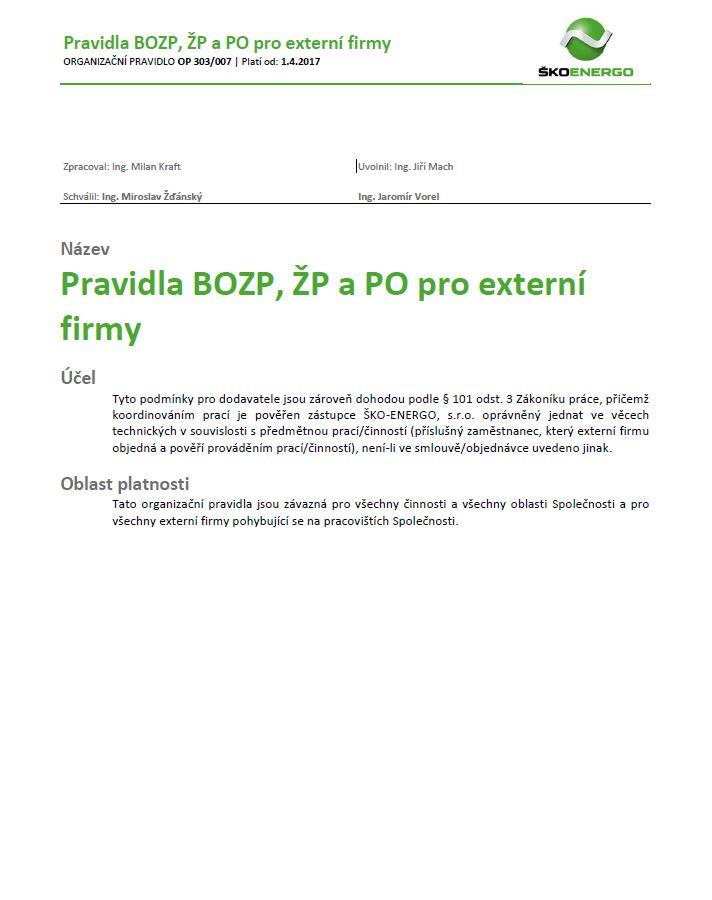 Pravidla BOZP, ŽP pro externí firmy