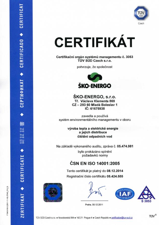 Certifikát ISO 14001 - 2005