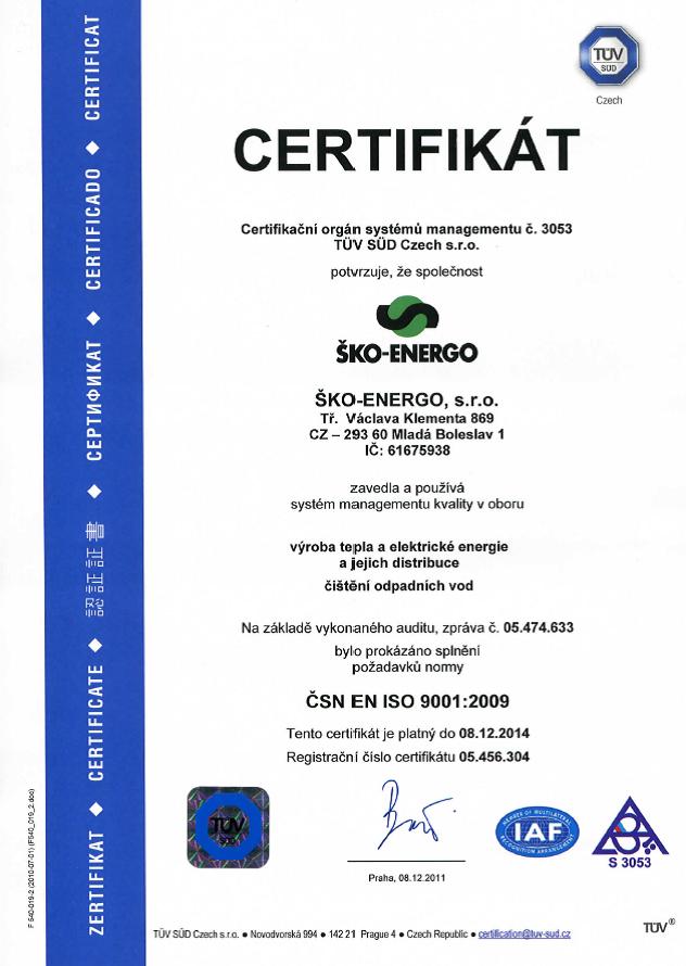 Certifikát ISO 9001 - 2009