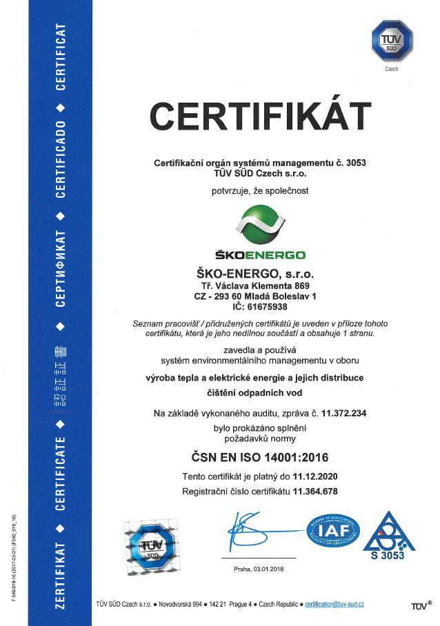 Certifikát ISO 14001:2016