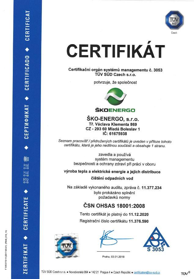 Certifikát ISO 18001:2008