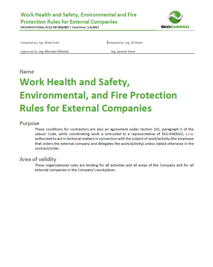 Work Health and Safety Rules for External Companies