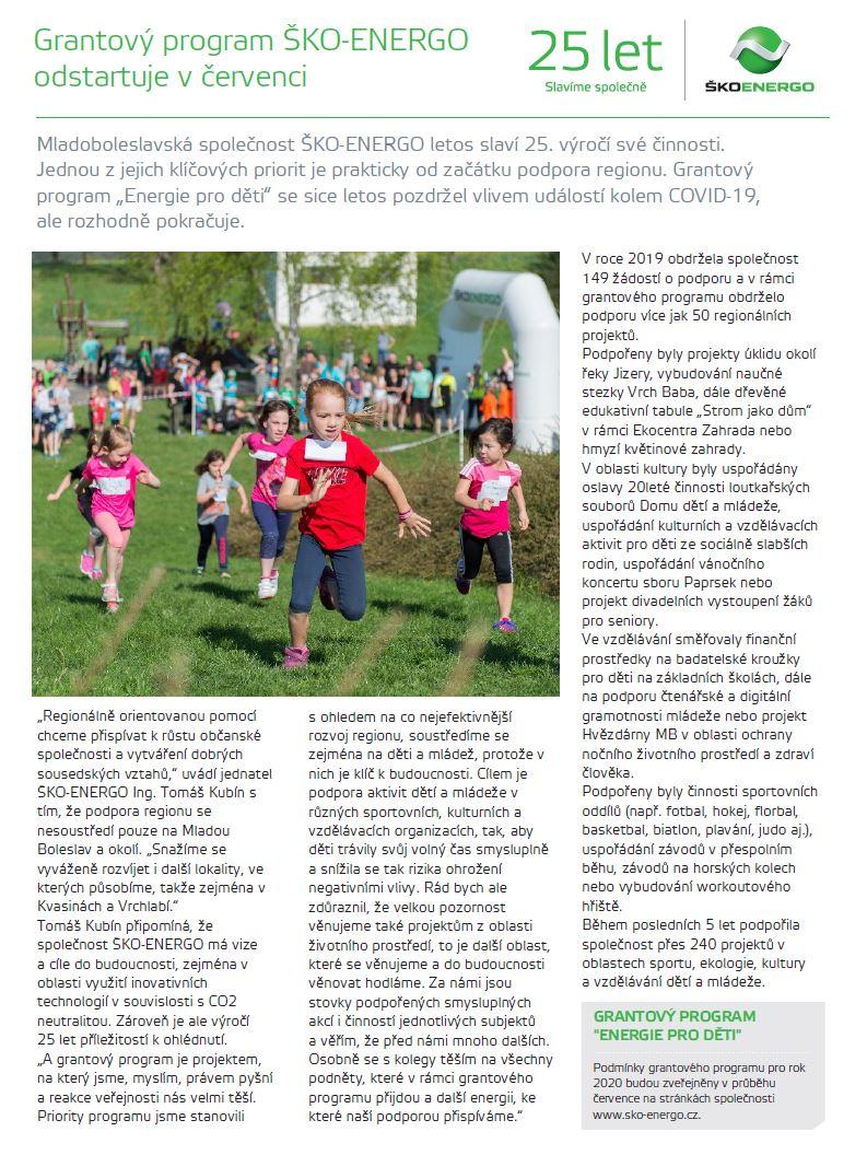 07/2020 - Grantový program ŠKO-ENERGO odstartuje v červenci