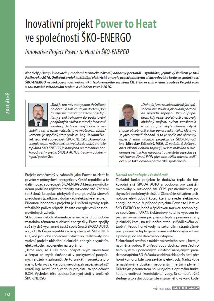 Inovativní projekt Power to Heat ve společnosti ŠKO-ENERGO