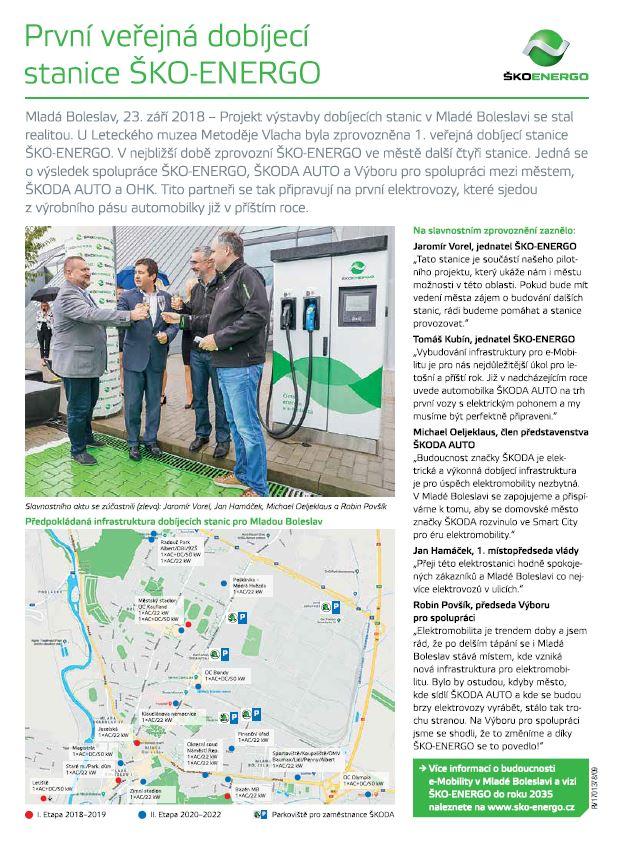 10/2018 - První veřejná dobíjecí stanice ŠKO-ENERGO
