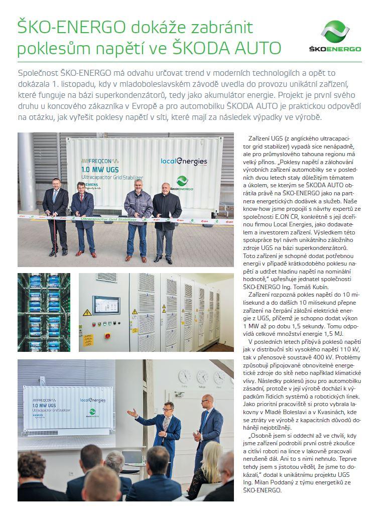 12/2019 - ŠKO-ENERGO dokáže zabránit poklesům napětí ve ŠA